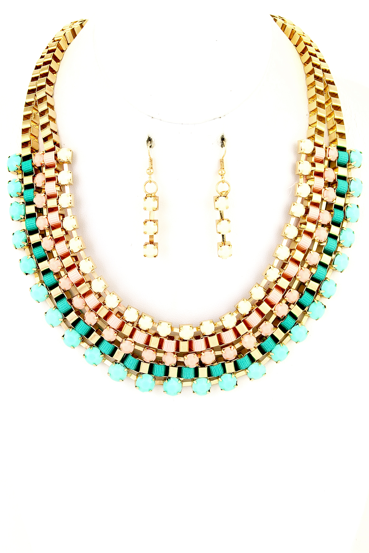 Bead and Thread Block Chain Necklace Set - Necklaces