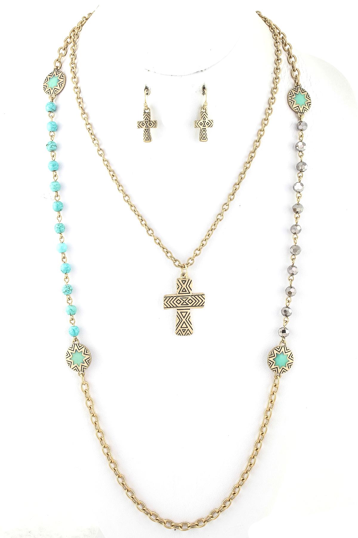 Aztec Cross Necklace Set - Necklaces