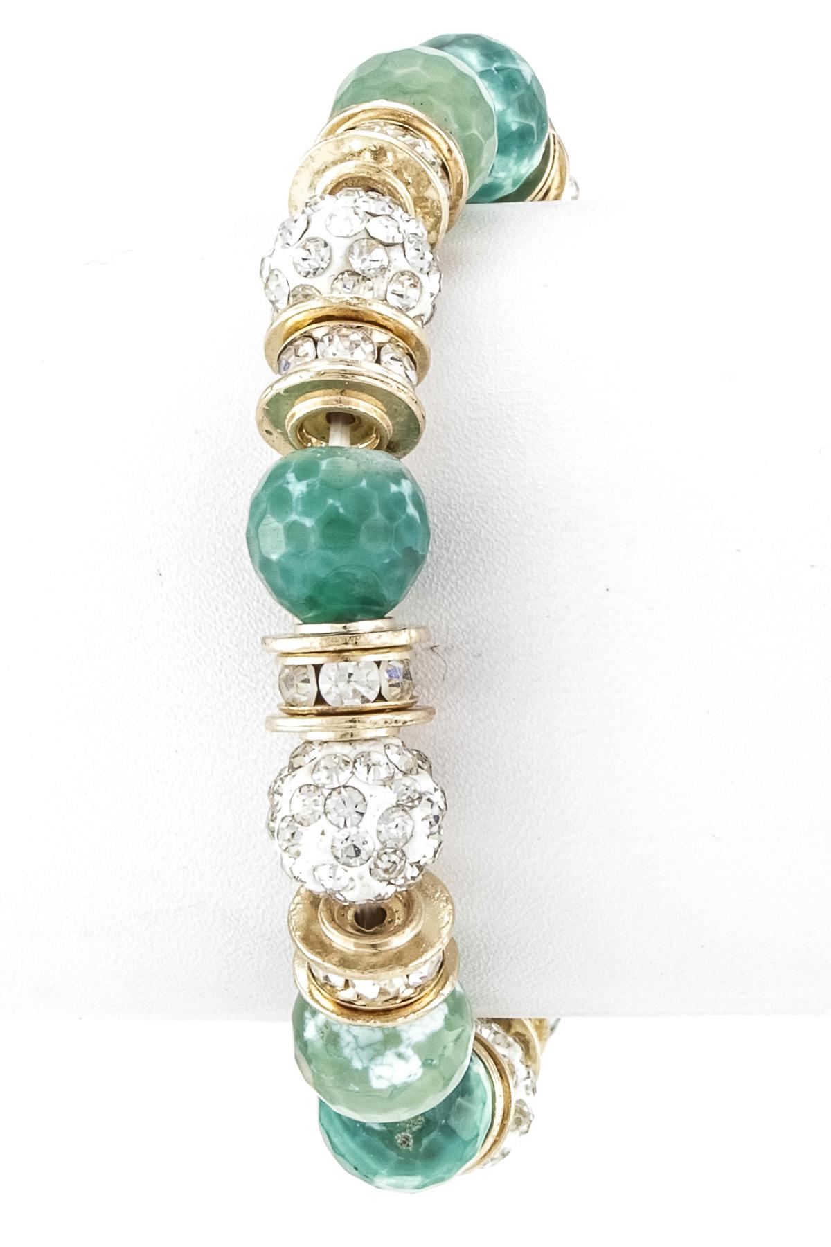 Semi Precious Stone Pave Ball Stretch Bracelet - Bracelets