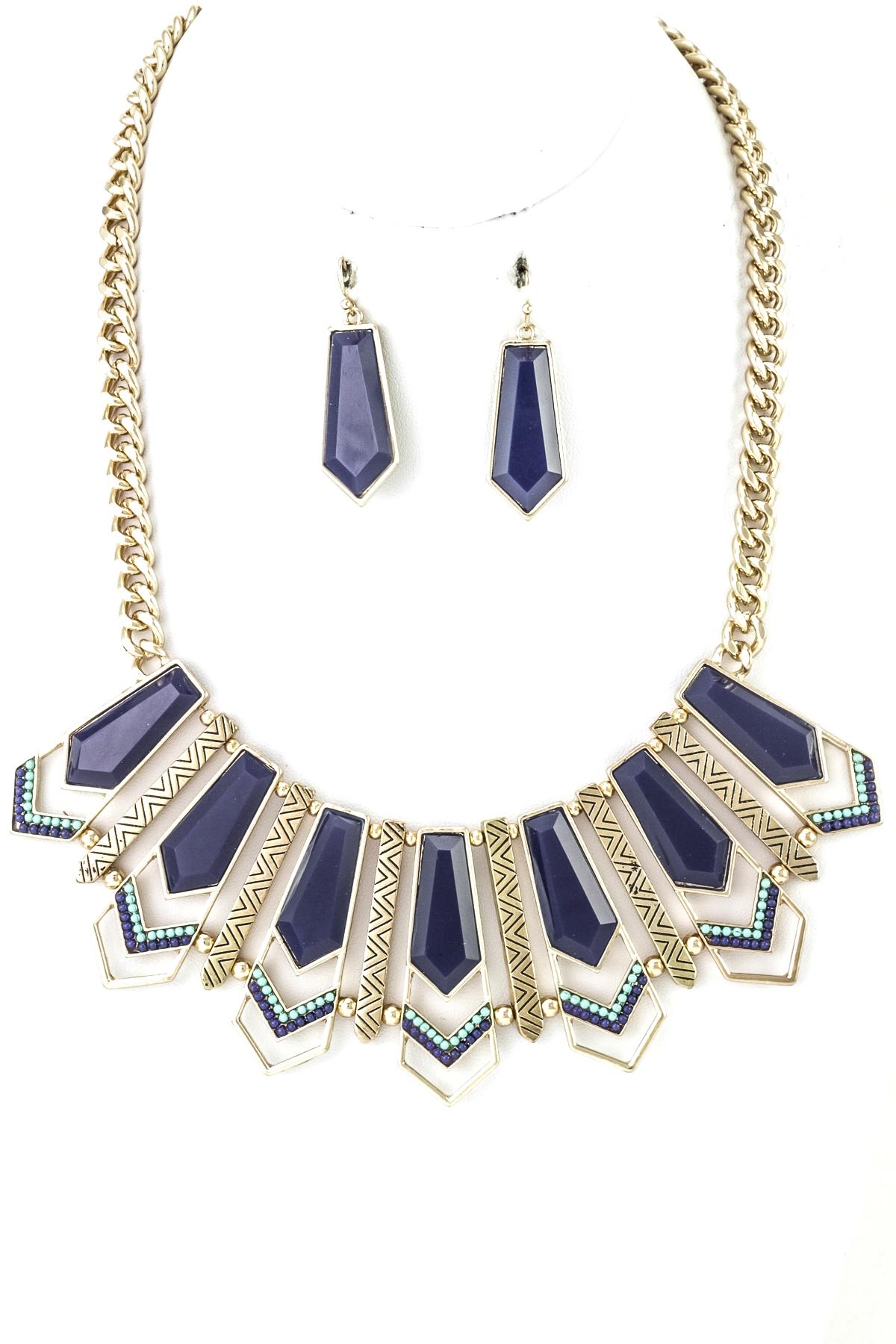 Angular Pentagon Necklace Set - Necklaces