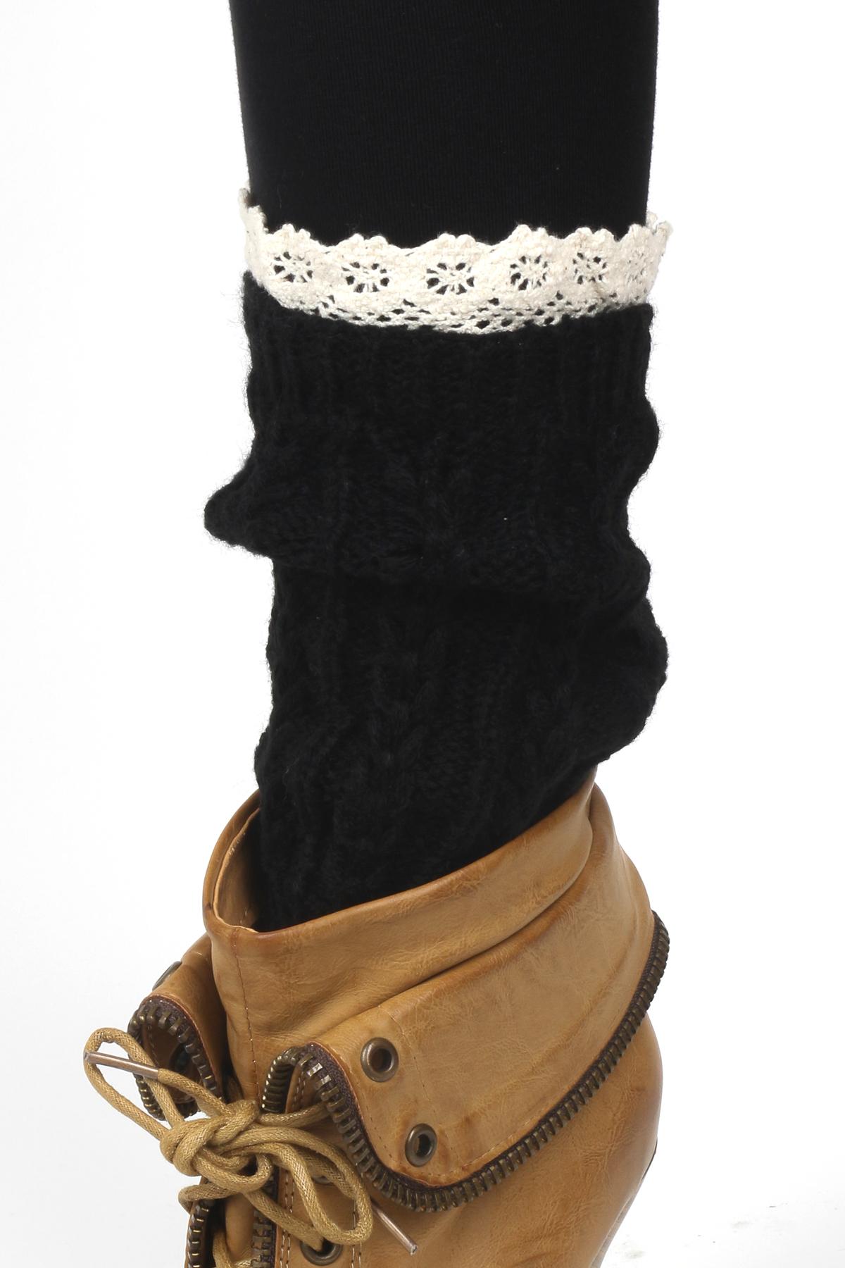 Knitted Lace Leg Warmers - Gloves U0026 Leg Warmers