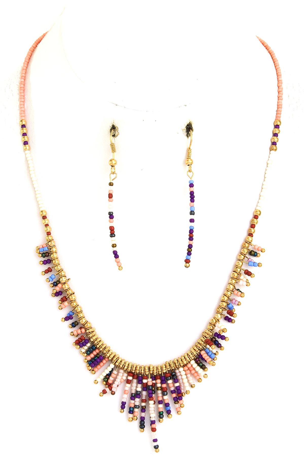 seed bead fringe necklace set