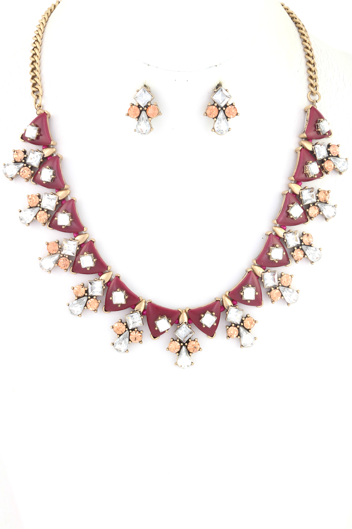 Triangular Acrylic Jewel necklace Set - Necklaces