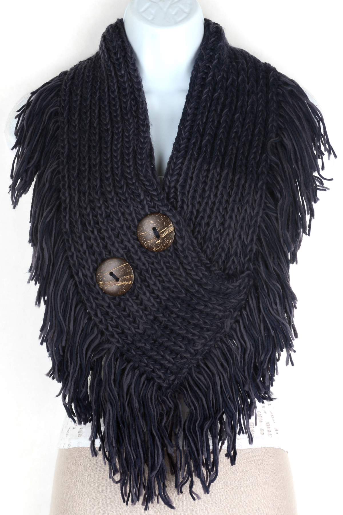 Knitting Pattern Scarf With Fringe : Knitted Button Infinity Fringe Scarf - Scarves
