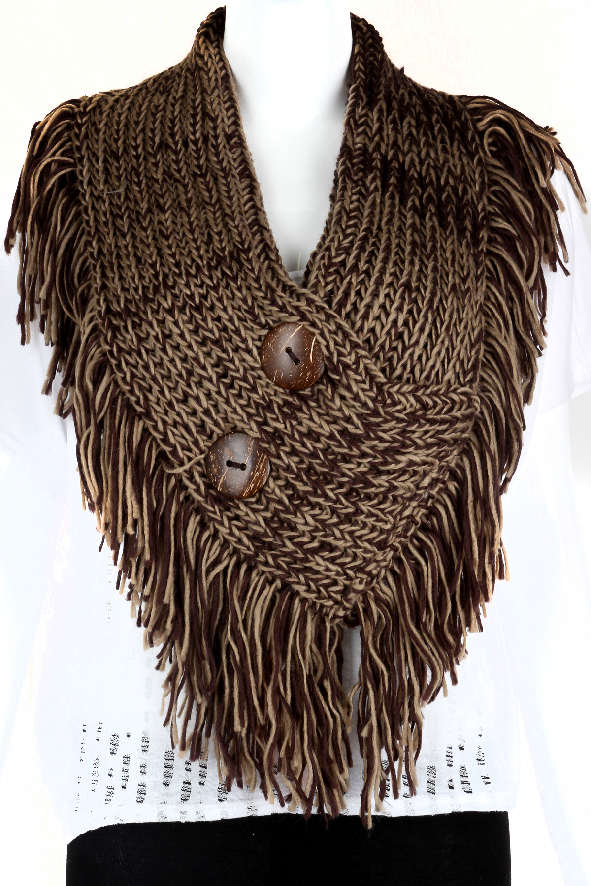 knitted button infinity fringe scarf scarves