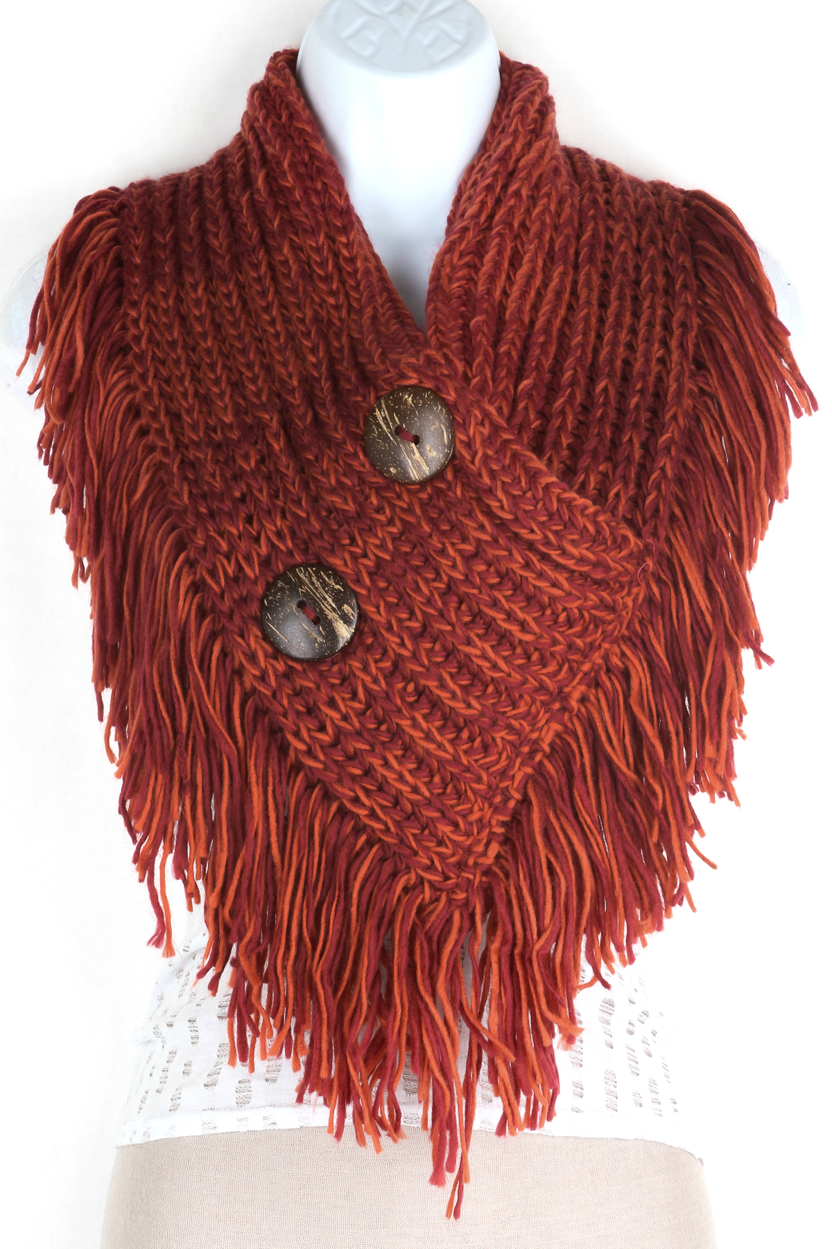 Infinity Scarf With Buttons Knitting Pattern : Knitted Button Infinity Fringe Scarf - Scarves