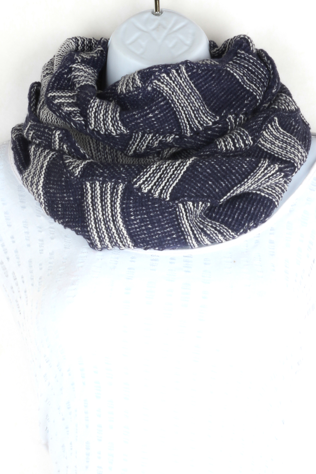 Knitting Pattern Wavy Scarf : Knitted Wavy Infinity Scarf - Scarves