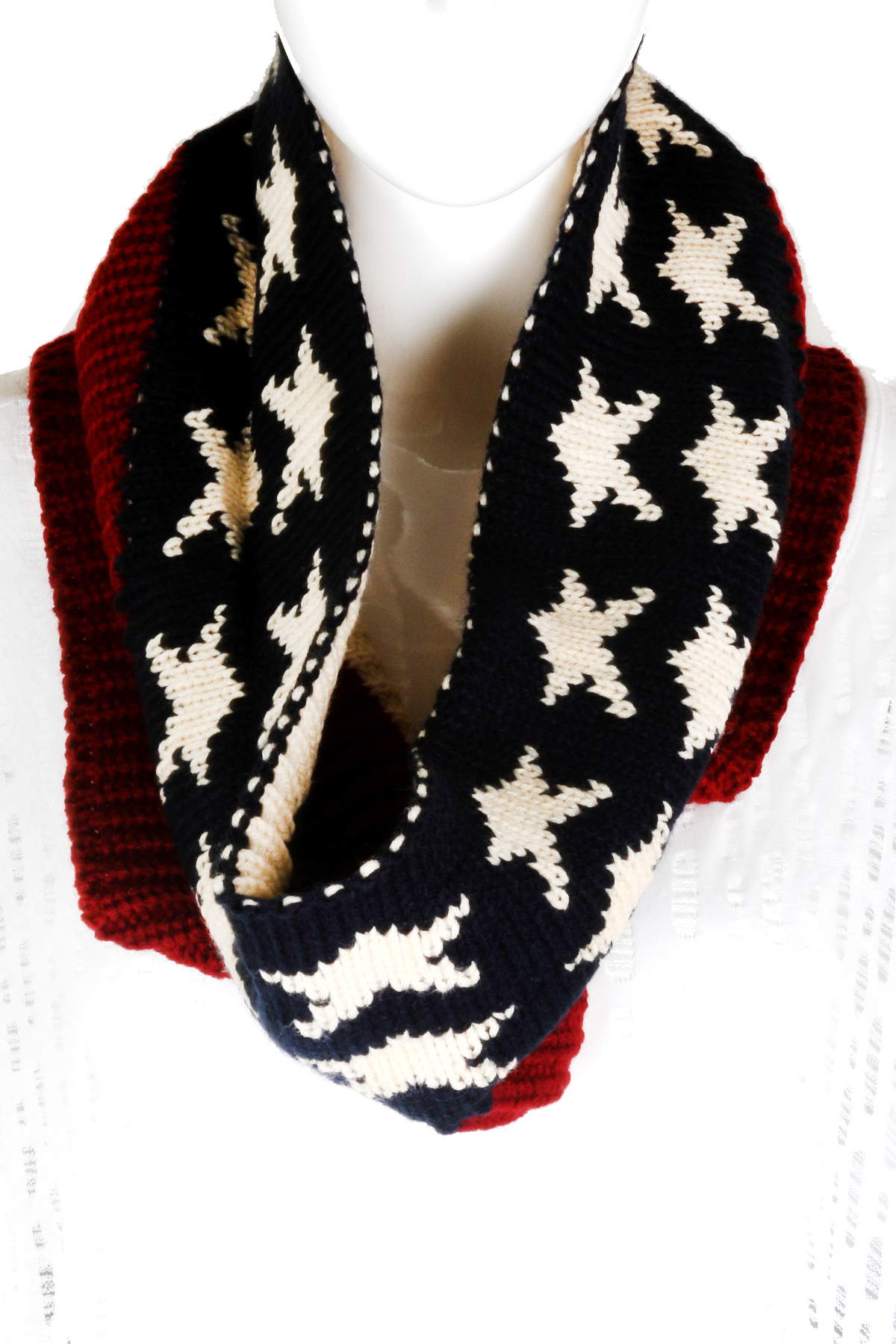 knitted american flag infinity scarf scarves
