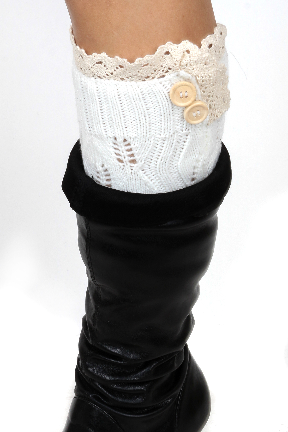 Knitting Pattern For Leg Warmers With Buttons : Knitted Button Leg Warmers - Gloves & Leg Warmers