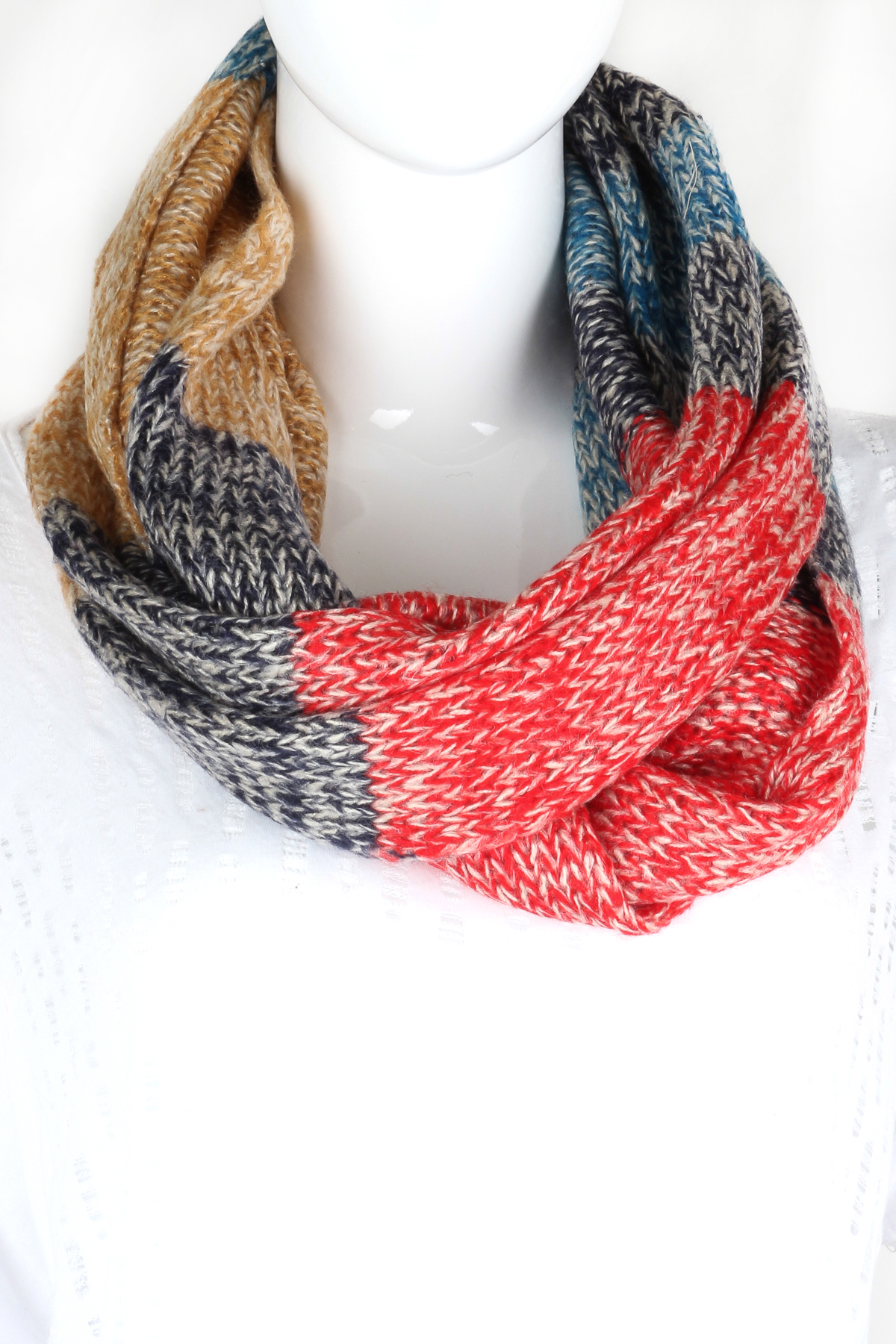 Knitted Color Block Infinity Scarf