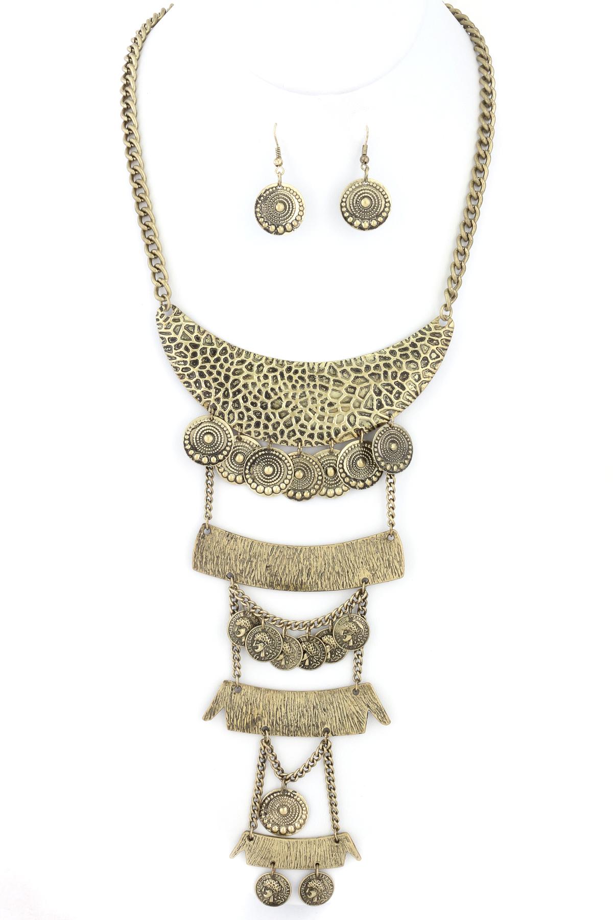 crescent coin bib necklace set necklaces