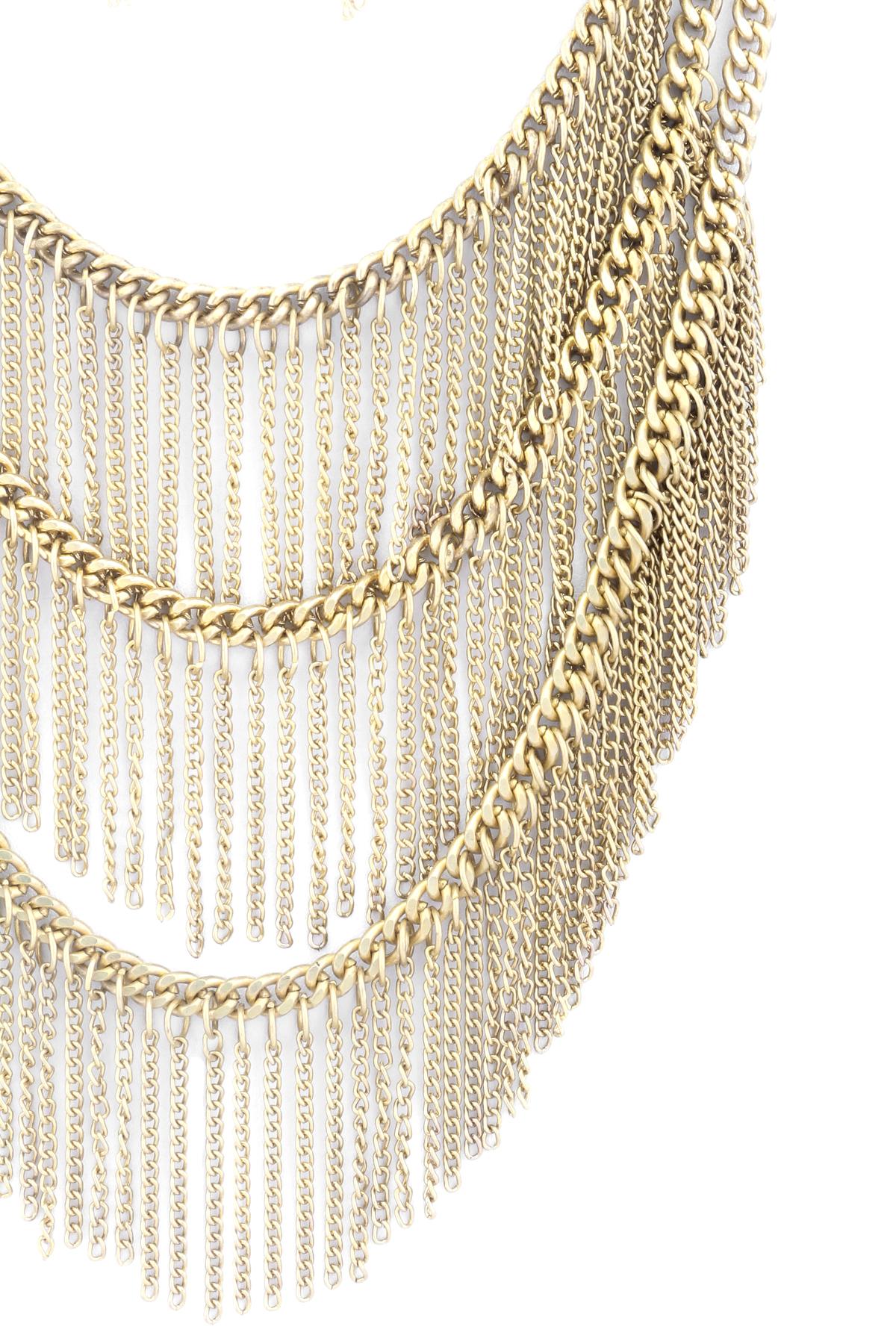 layered chain fringe necklace set