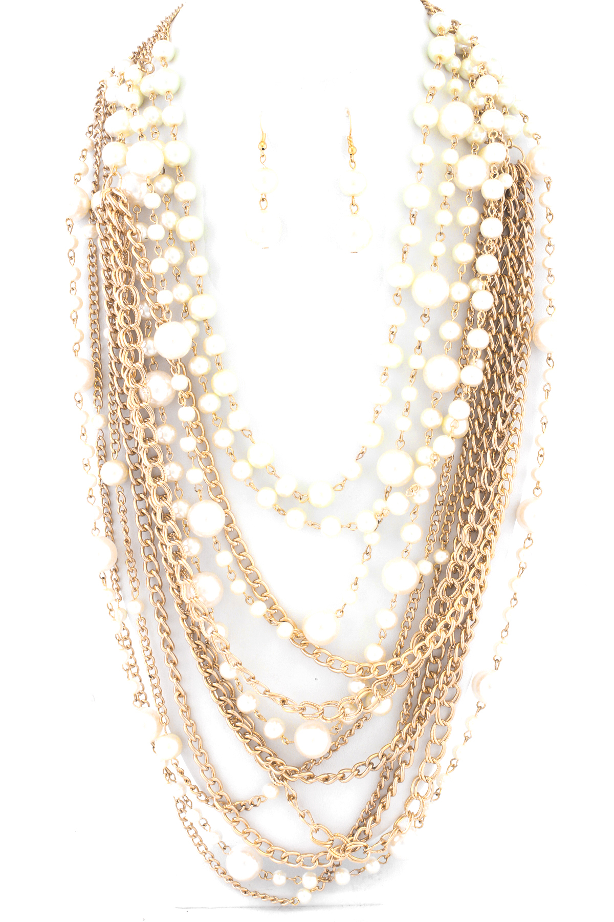 layered pearl and chain necklace set