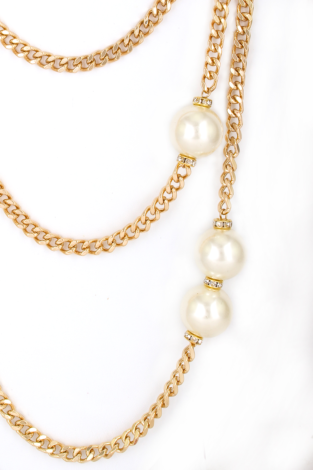 Layered Crystal Rondelle And Pearl Necklace Set Necklaces