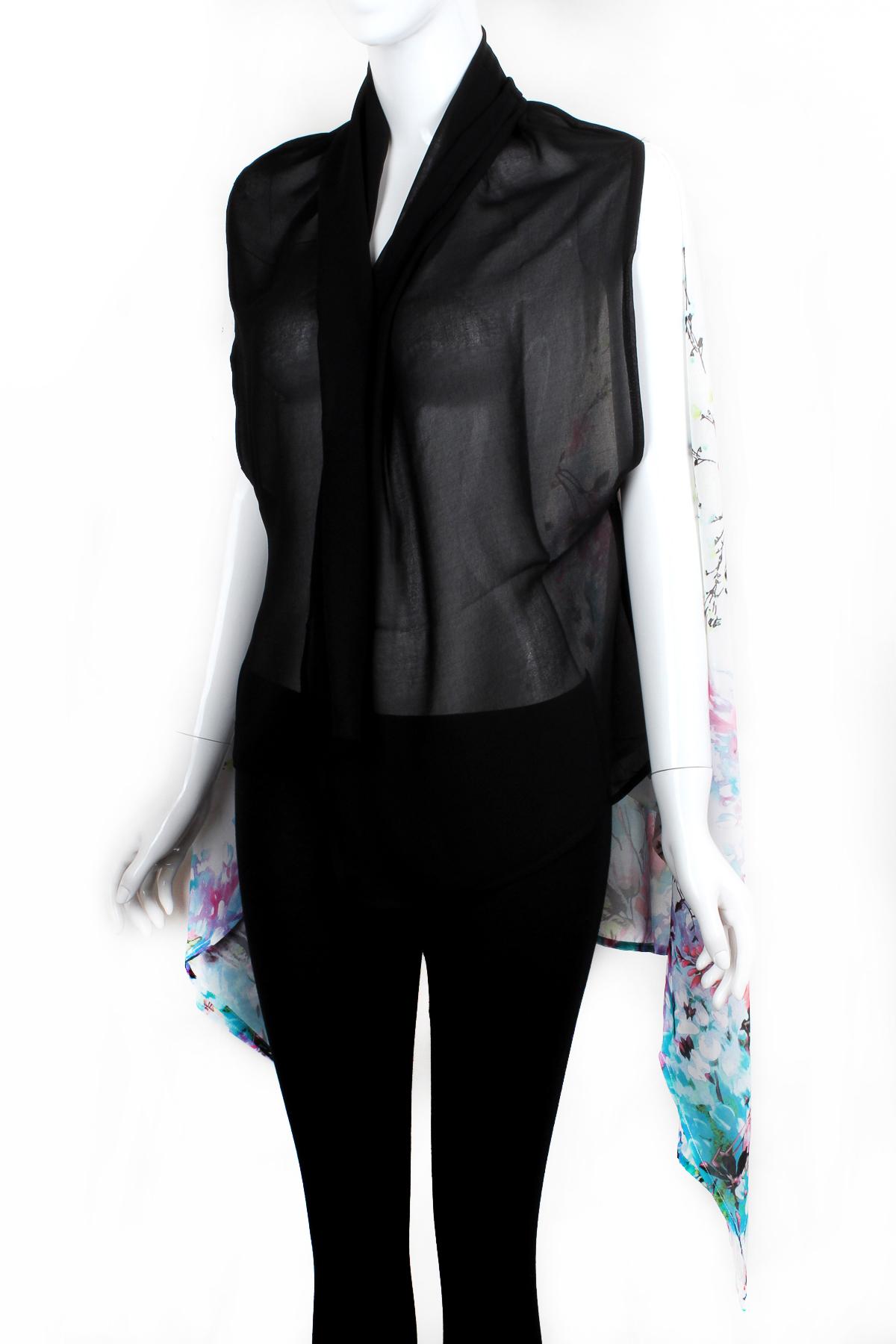 Chiffon Two Tone Floral Print Vest - Scarves