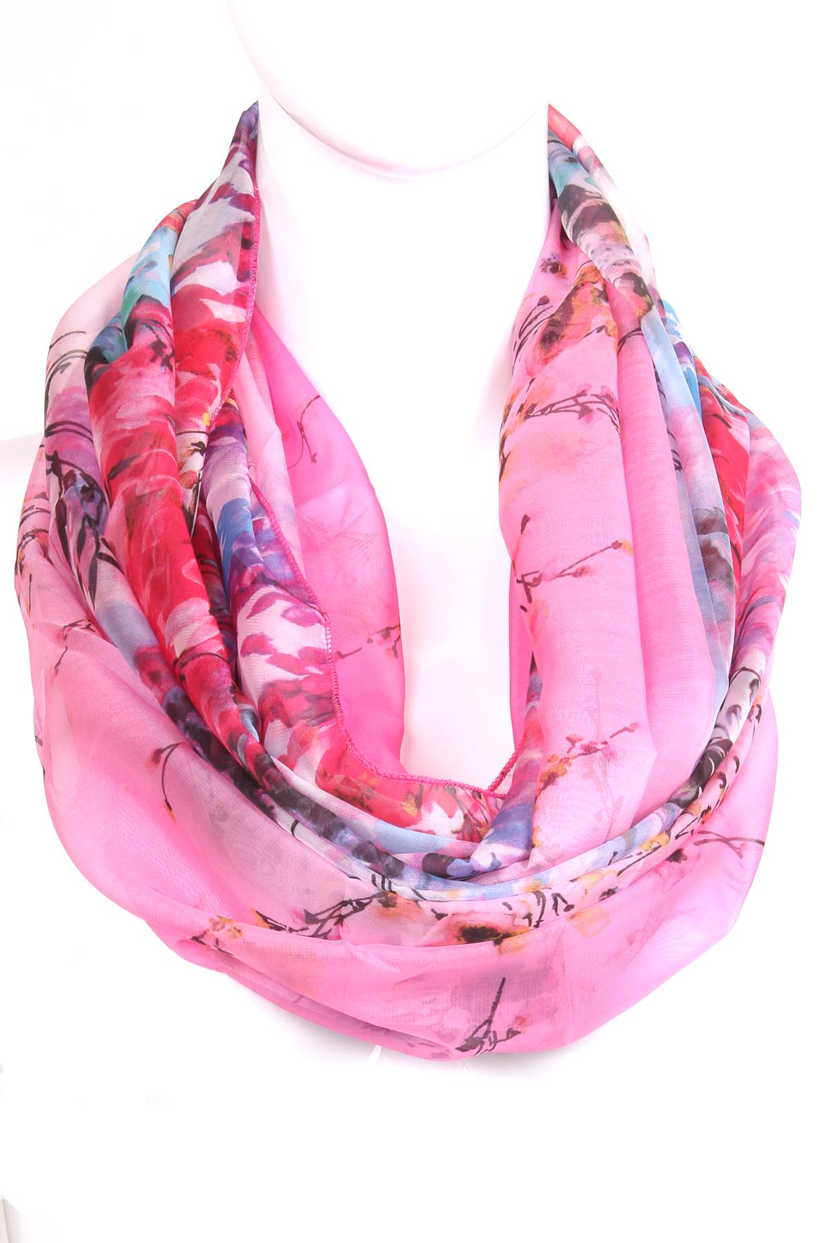 chiffon floral print infinity scarf