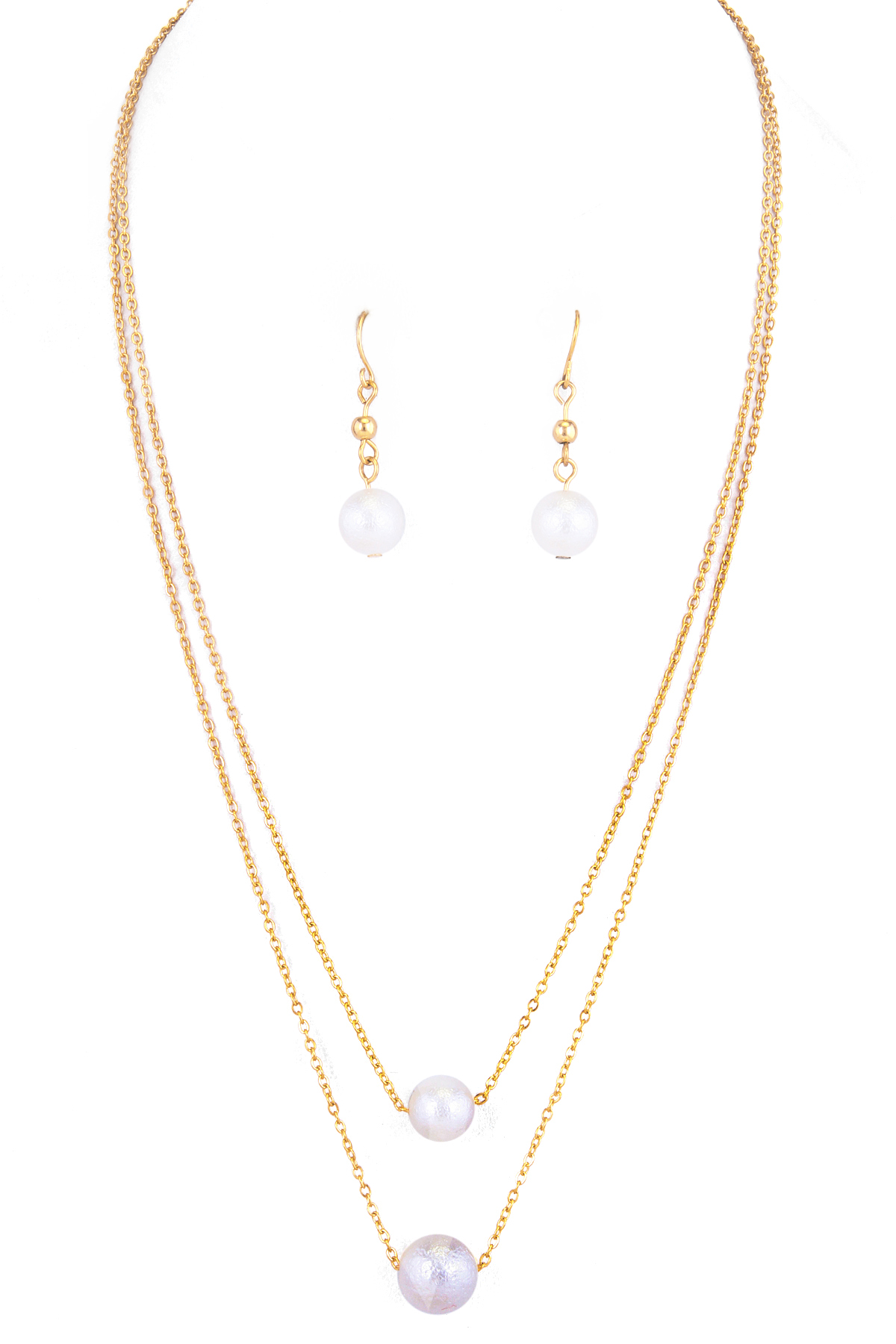 layered peal necklace set