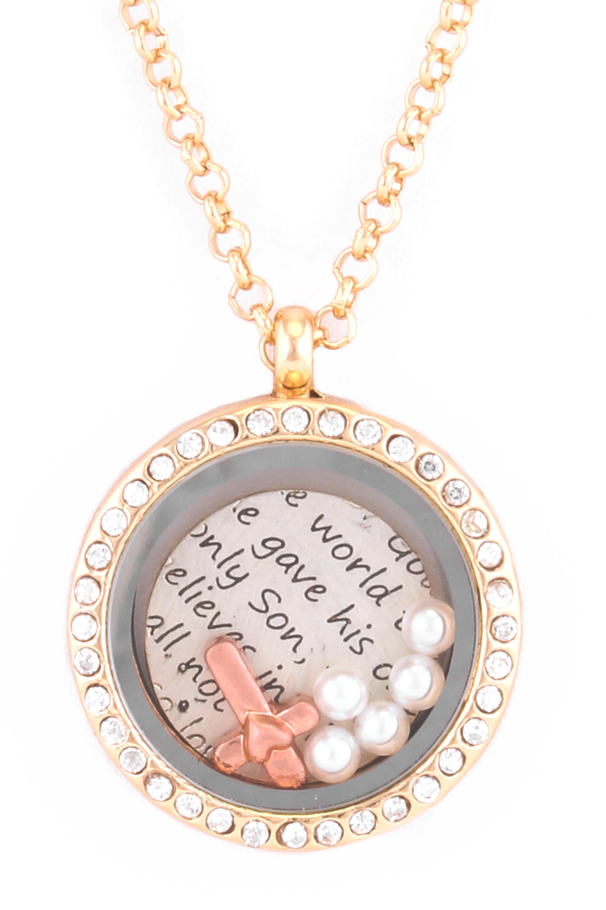 Cross Pearl Charms Locket Necklace Necklaces