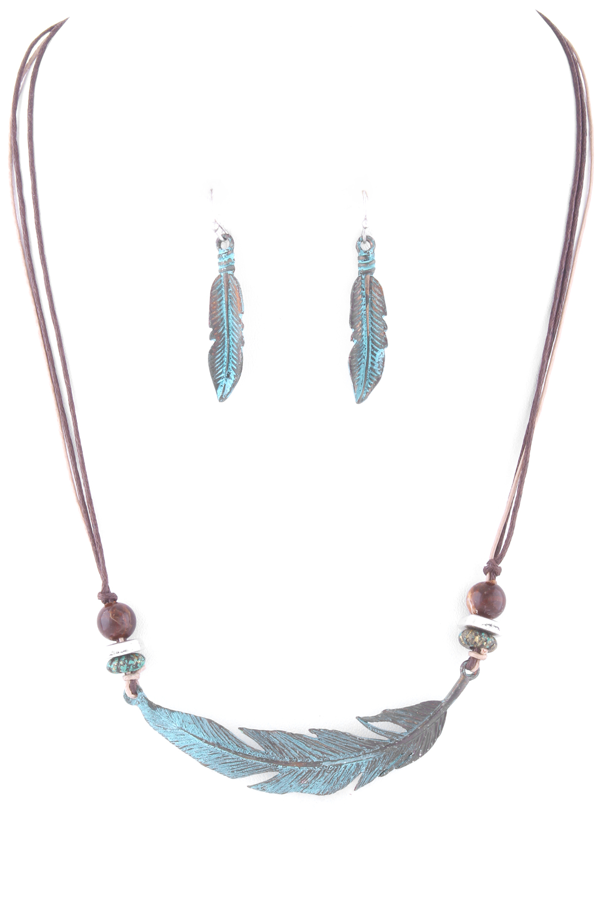 Waxed Cord Feather Necklace Set
