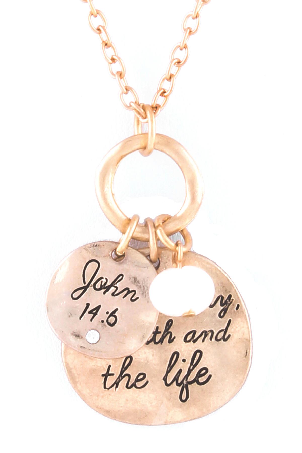 john 14 6 pendant necklace set