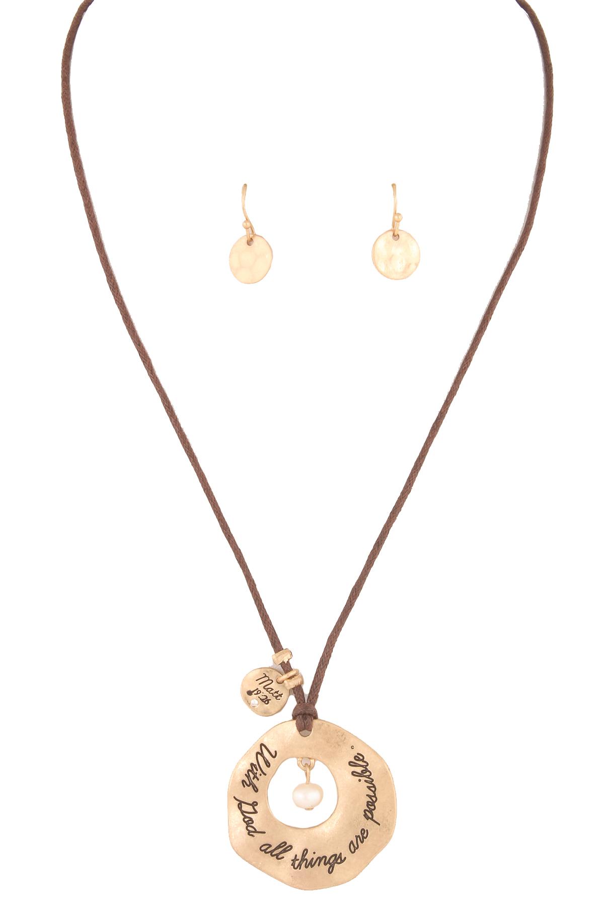 engraved bible verse pendant necklace set necklaces