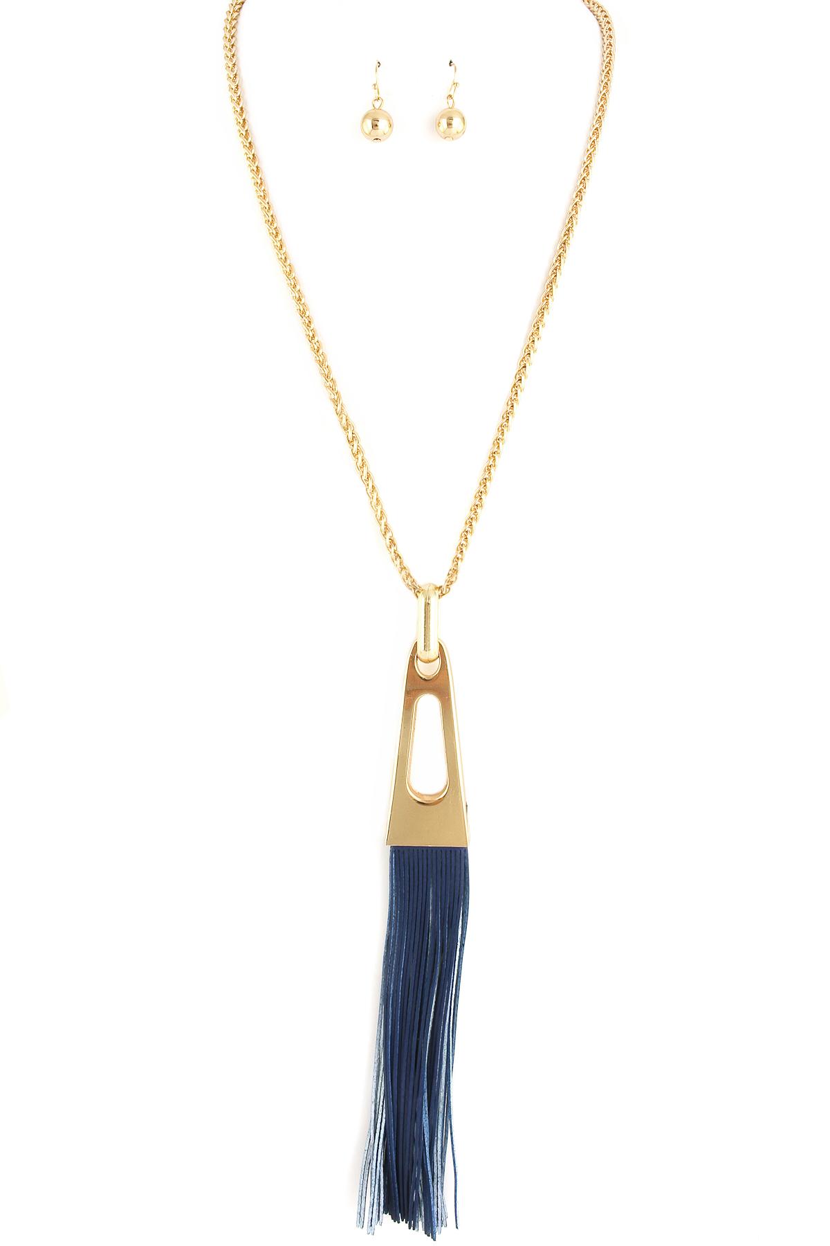 leather tassel pendant necklace set necklaces