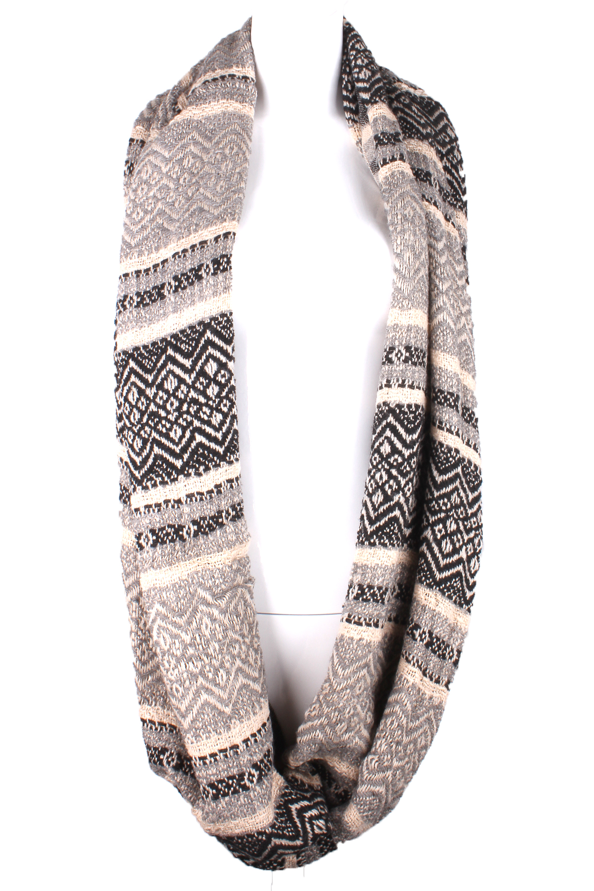 Knitted Fairosle Pattern Infinity Scarf - Scarves