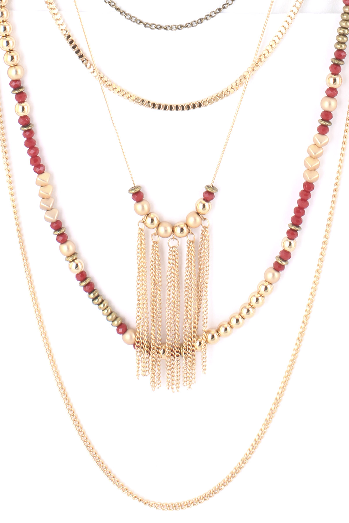 multi layer glass bead tassel necklace set