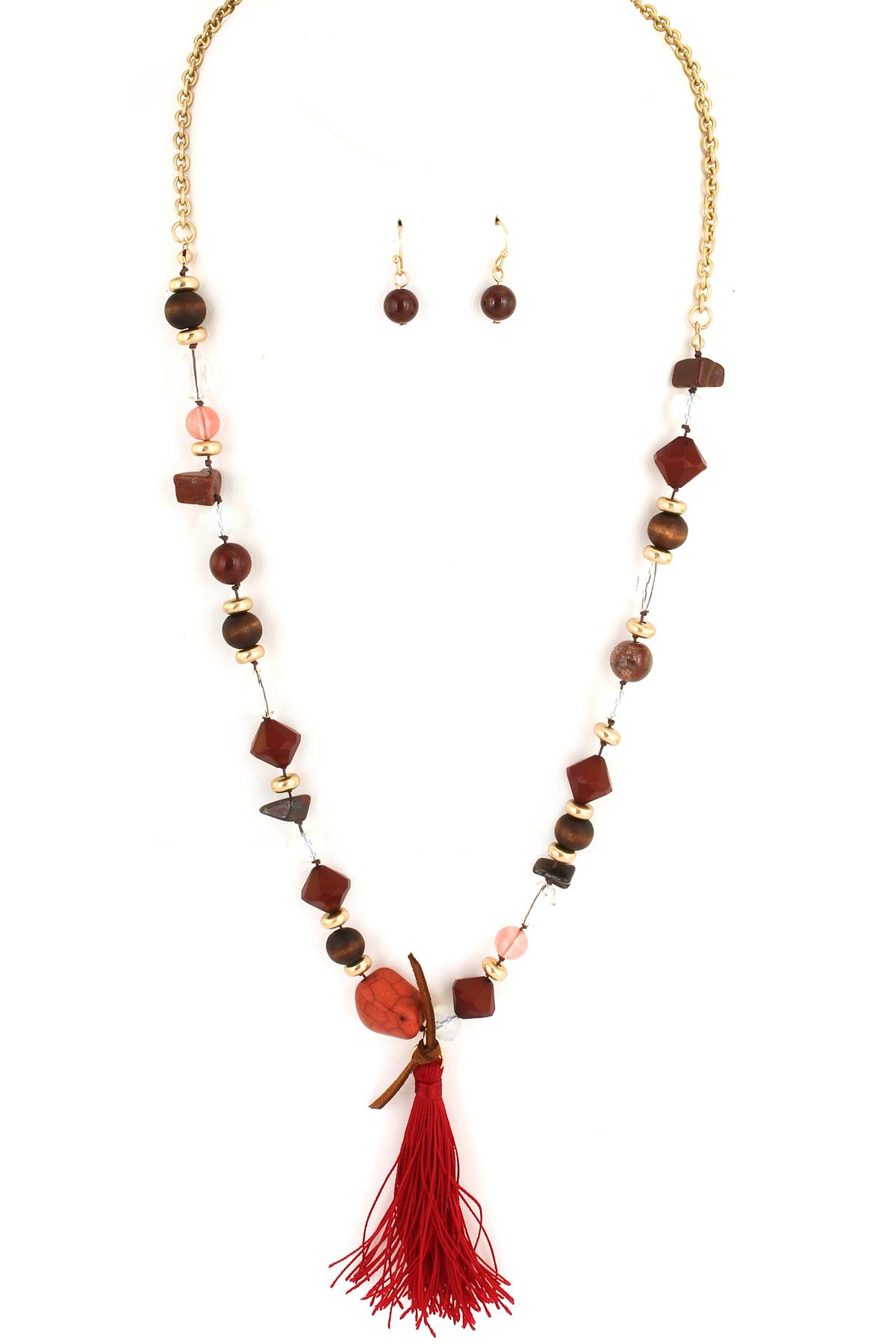 Semi Precious Stone Wood Bead Tel Necklace Set