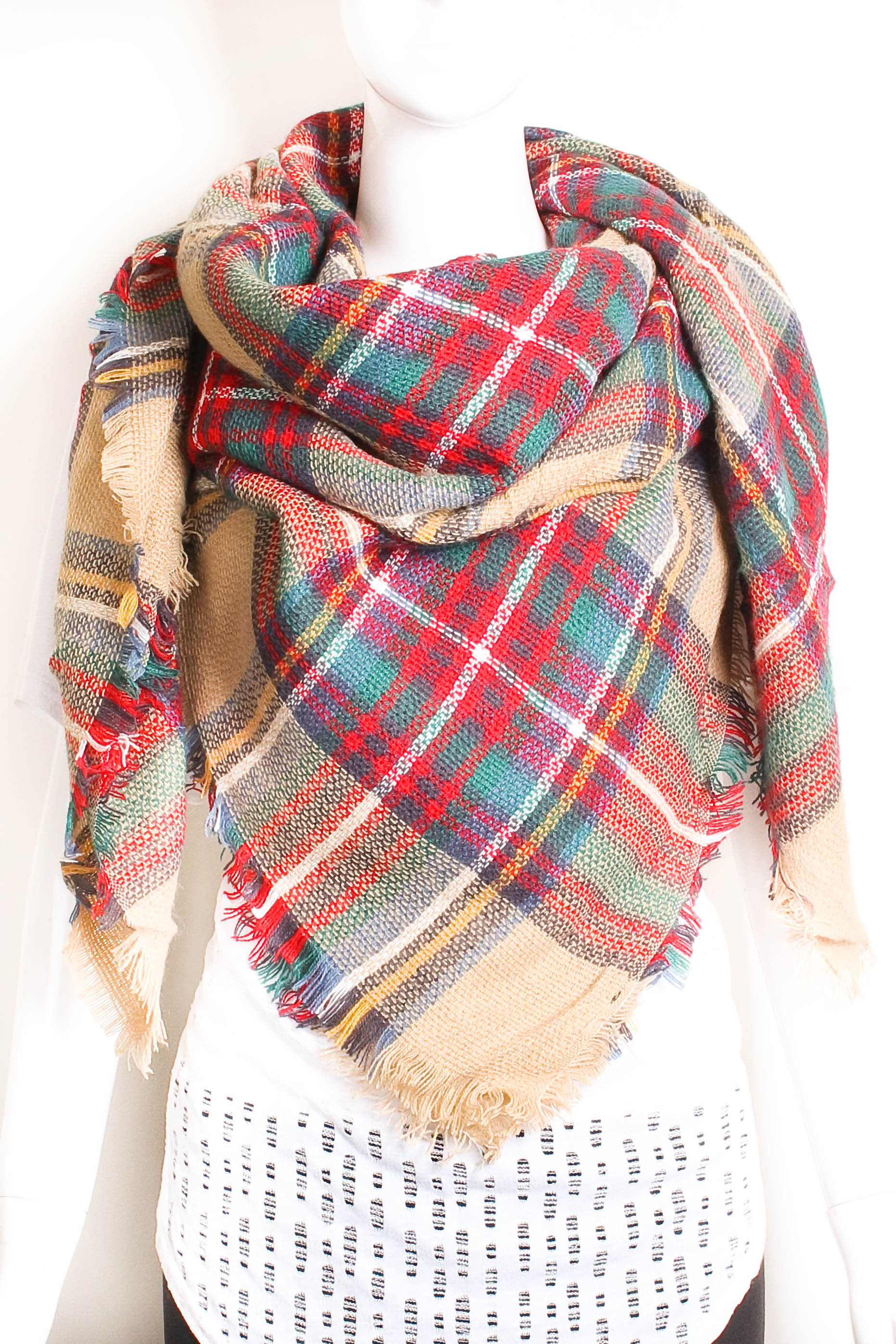 Woven Plaid Blanket Scarf - Scarves