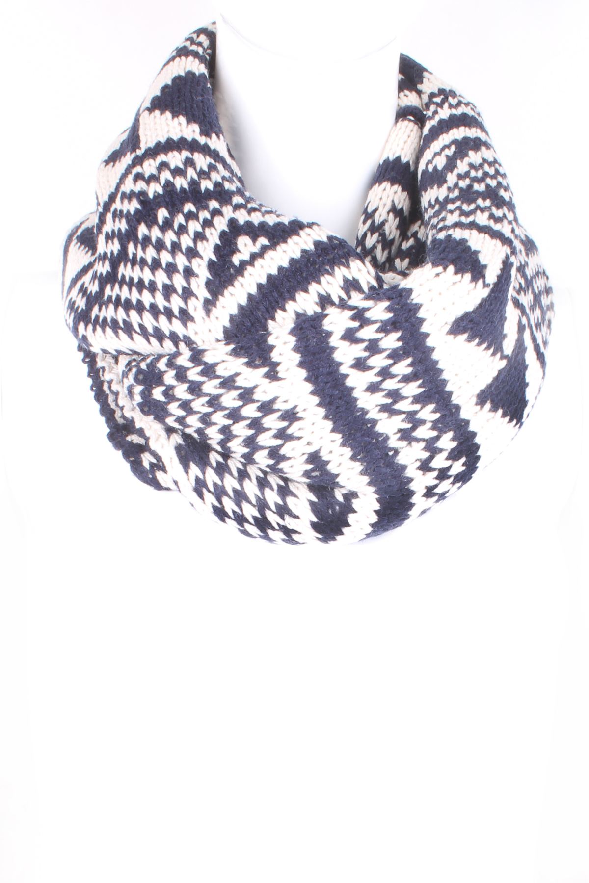 Knit Nordic Pattern Infinity Scarf - Scarves