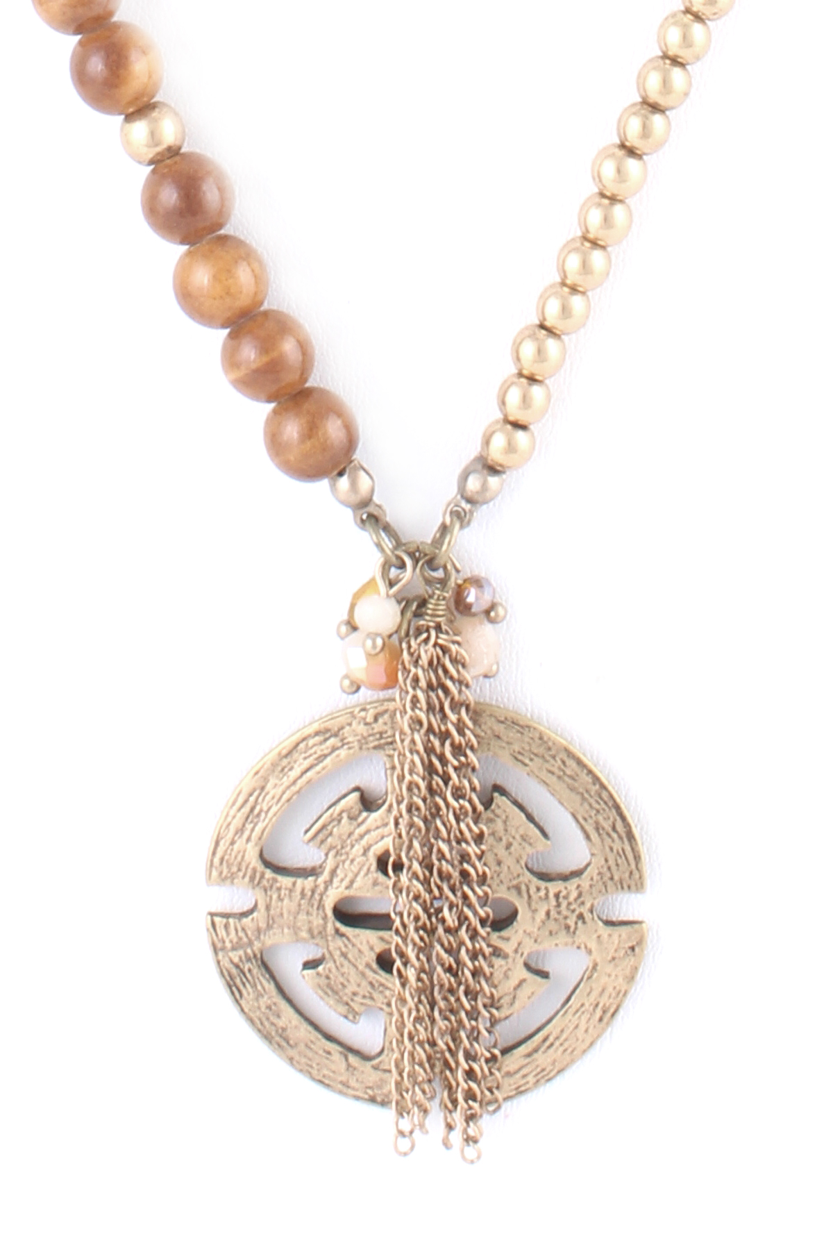 Threaded chain link pendant and tassel necklace necklaces
