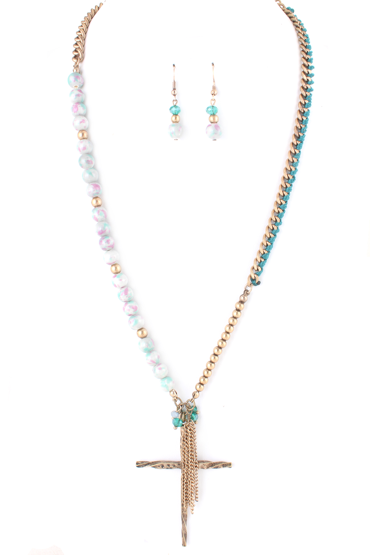 Threaded chain link cross necklace set necklaces