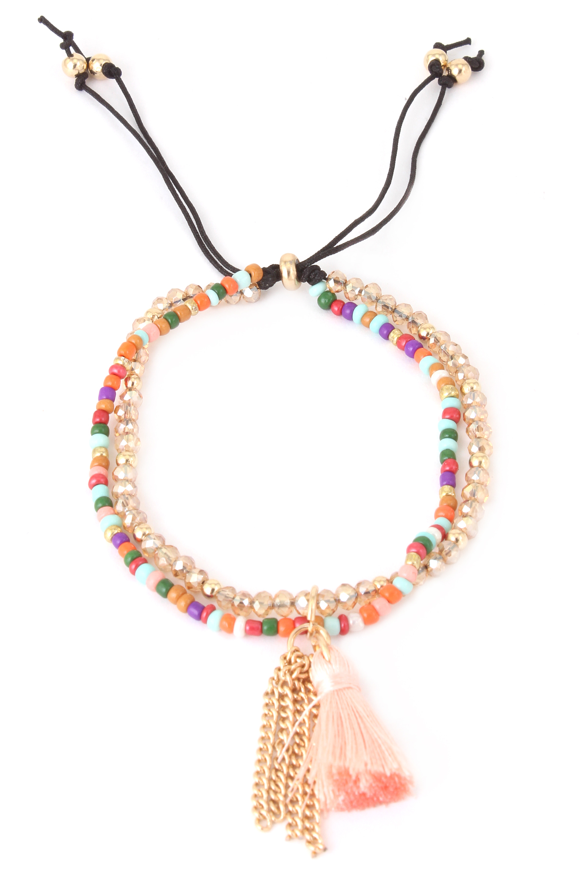 Acrylic Seed Bead Tassel Bracelet - Bracelets
