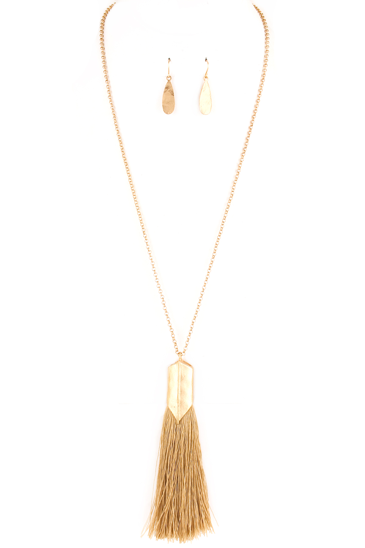 Threaded chain link tassel necklace set necklaces
