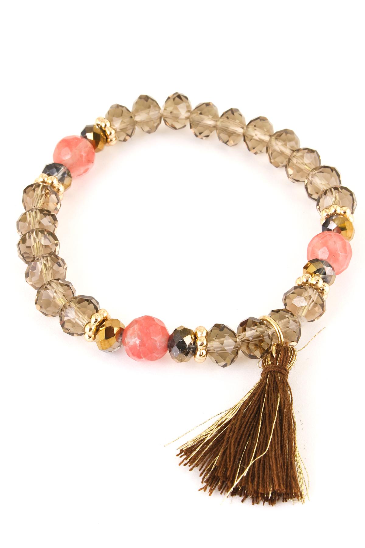 glass bead tassel stretch bracelet bracelets