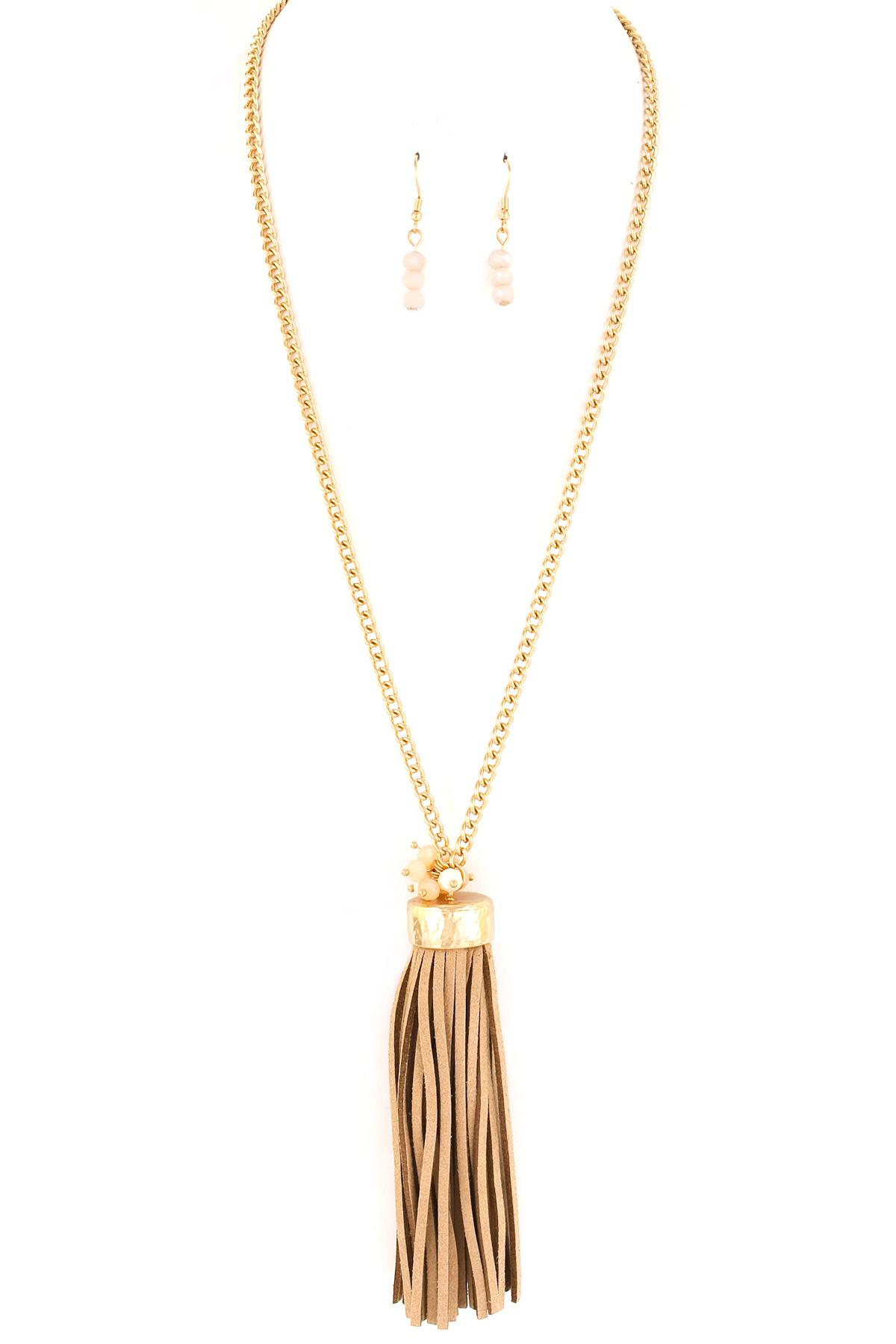 faux suede tassel necklace set