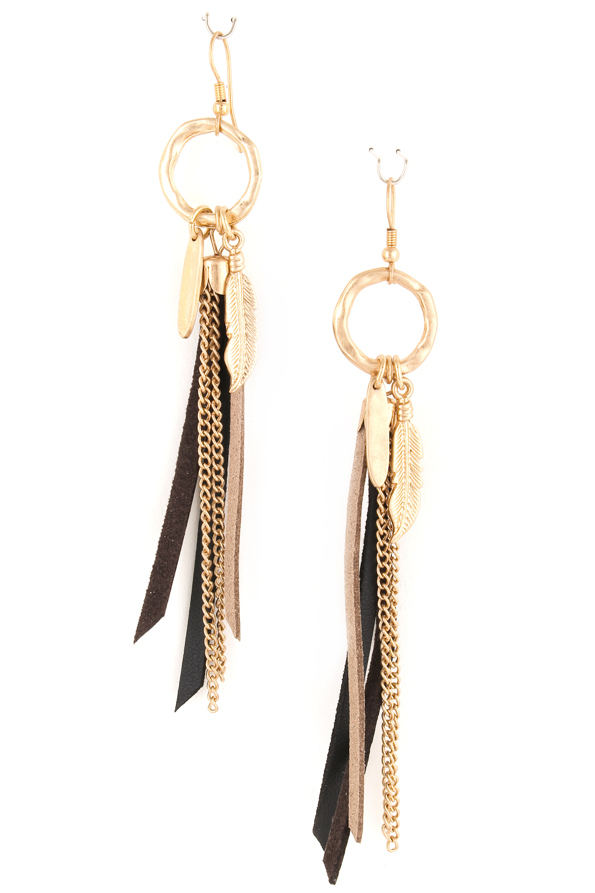 Leaf Charm With Faux Leather Tassel Earrings