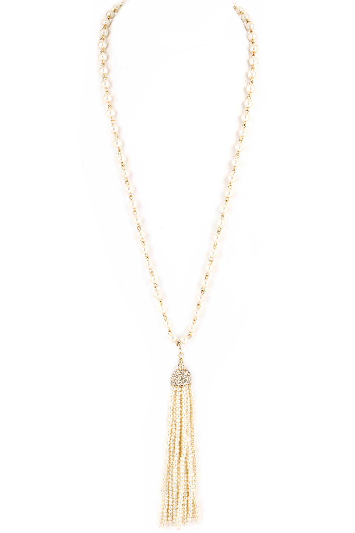 beaded acrylic pearl tassel pave necklace