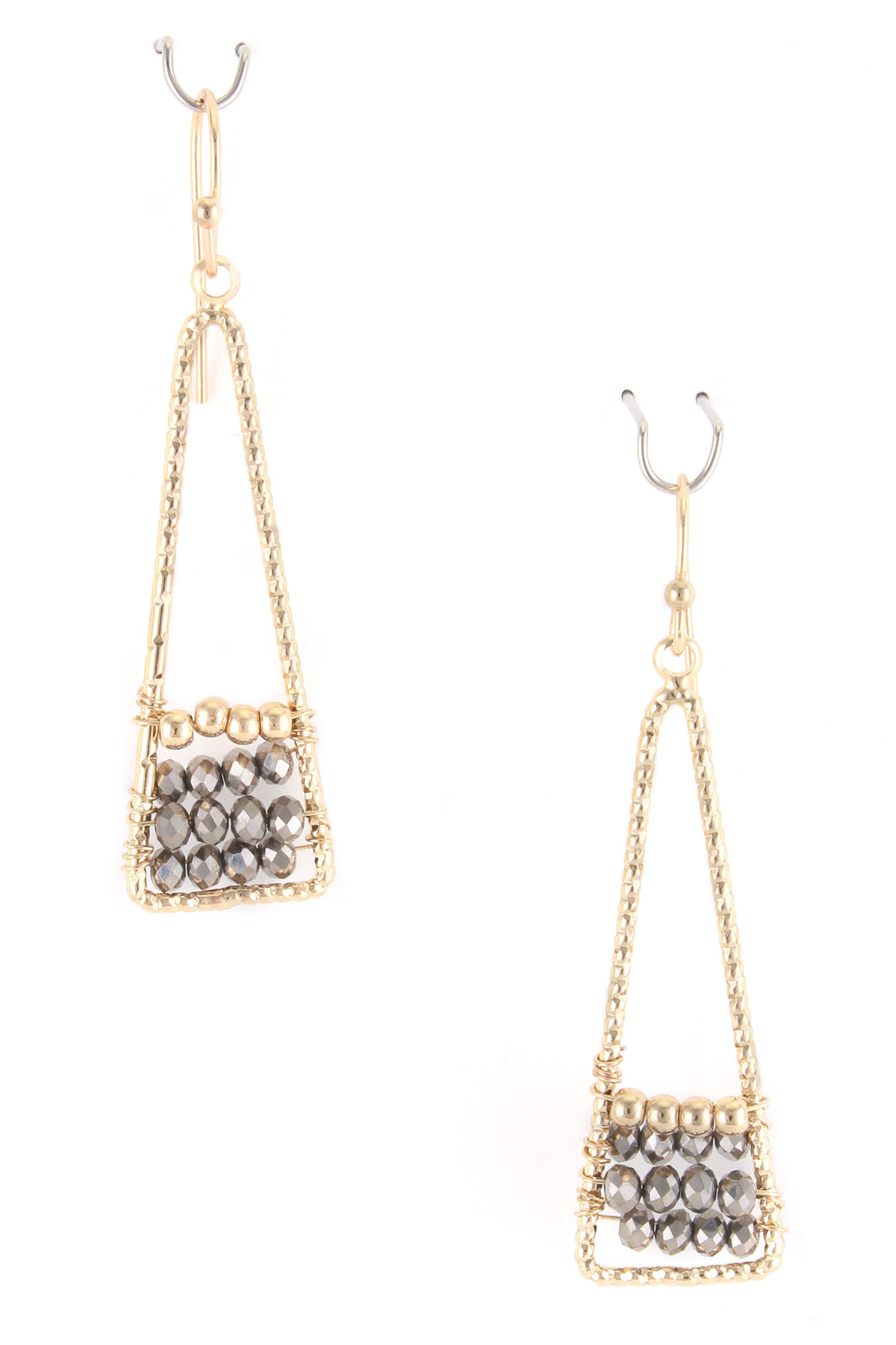 glass bead triangle dangle earrings. Black Bedroom Furniture Sets. Home Design Ideas