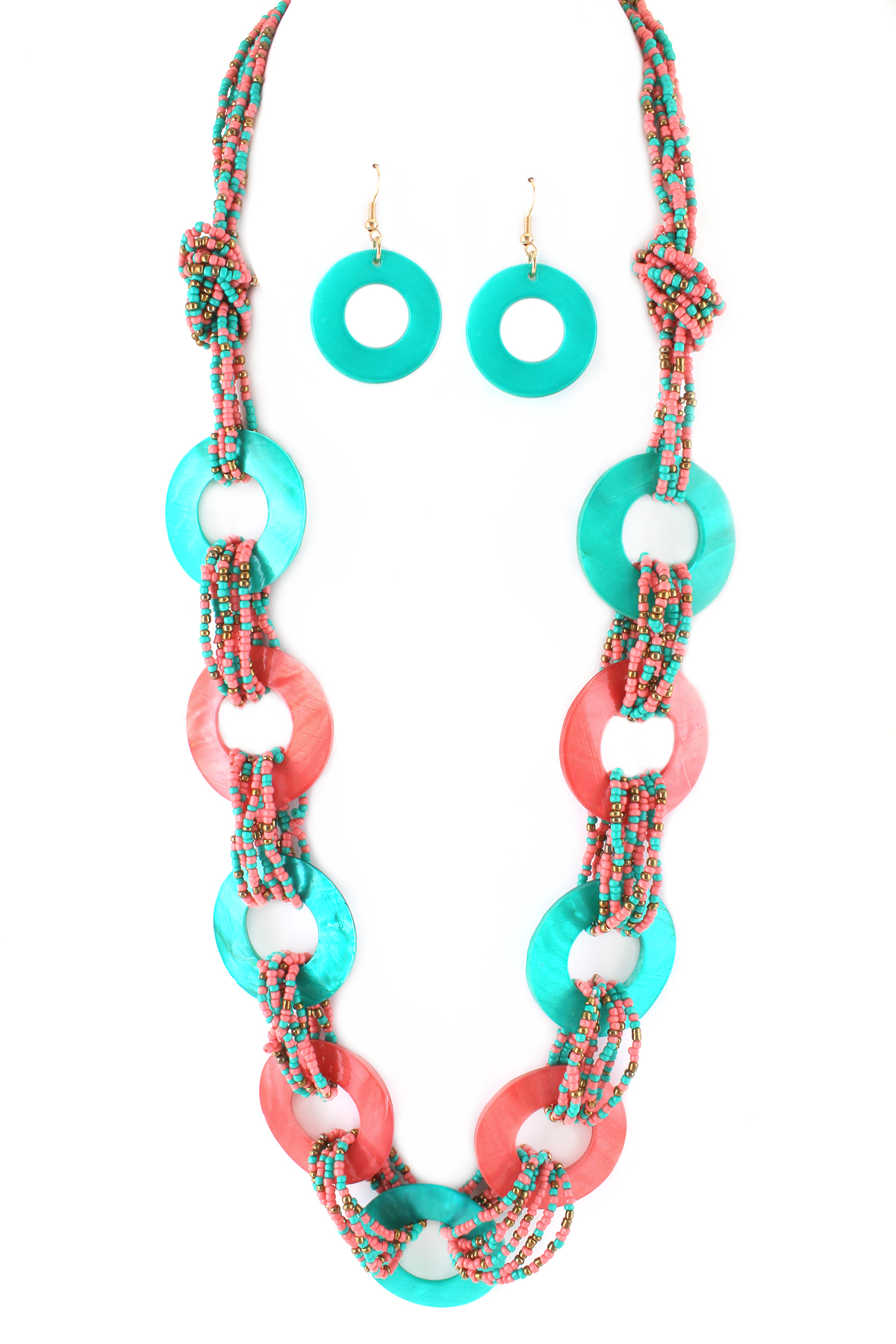 layered knotted seed bead necklace set necklaces