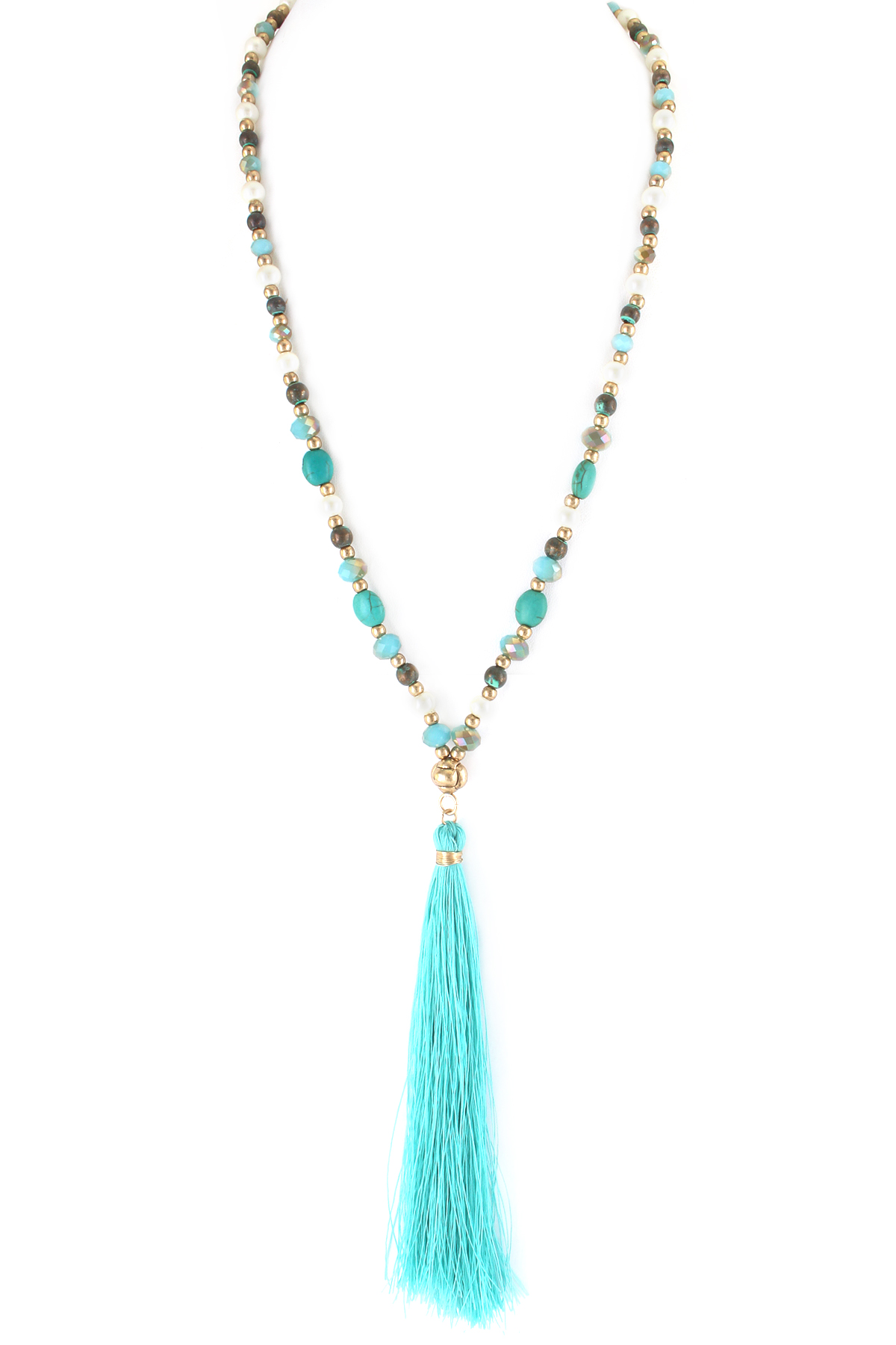 multi beaded tassel pendant necklace necklaces. Black Bedroom Furniture Sets. Home Design Ideas