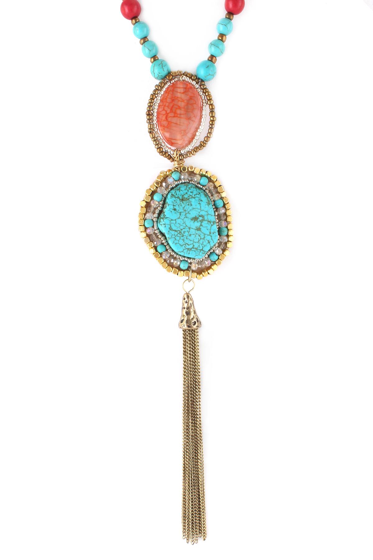 Semi Precious Stone Tassel Pendant Necklace