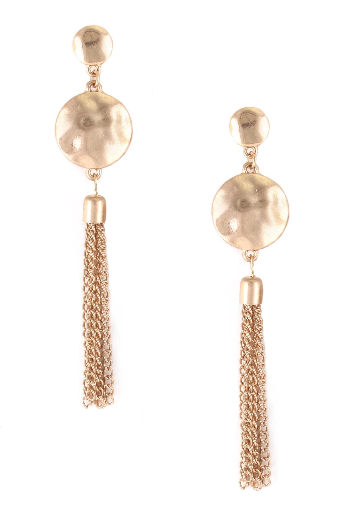 Hammered metal tassel earrings