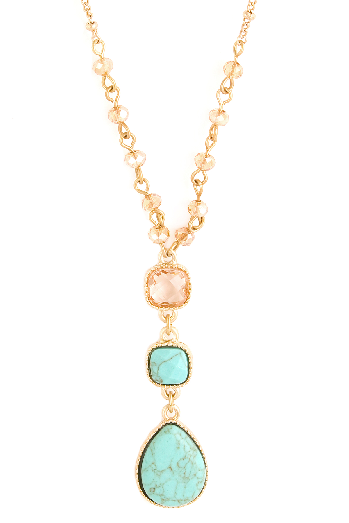 Glass Bead Teardrop Long Necklace Necklaces