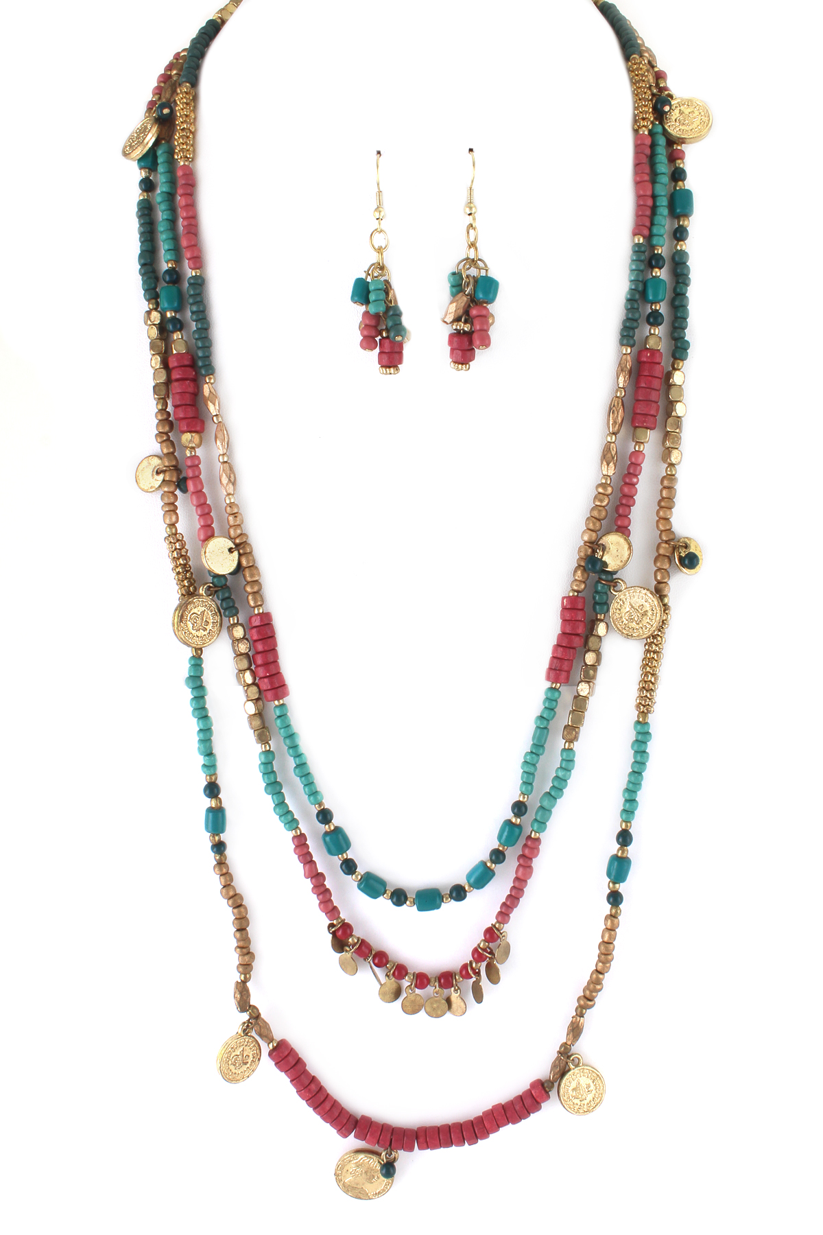 coin charm seed bead necklace set