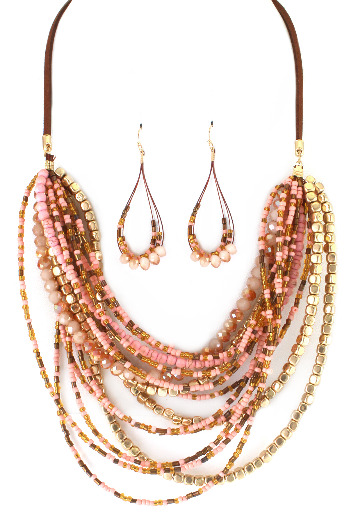 Layered Multi Bead Necklace Set - Necklaces