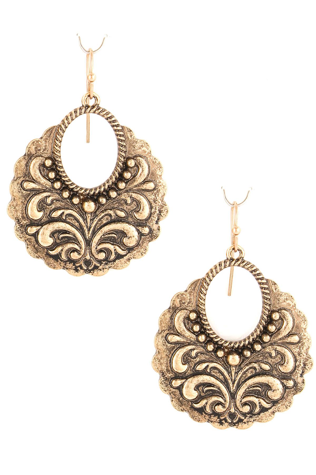Antique metal filigree drop earrings
