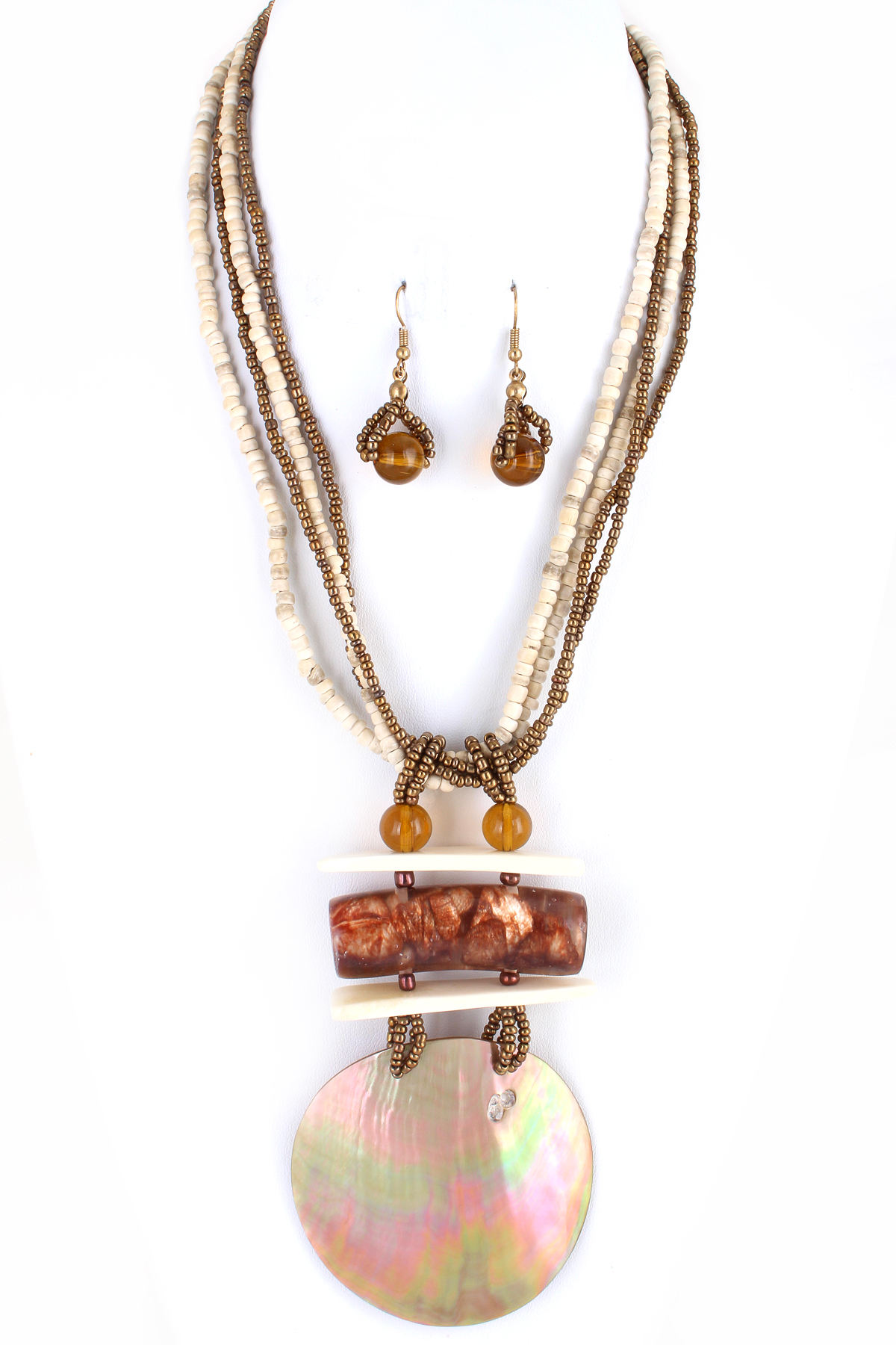 Layered Bead With Natural Sea Shell Necklace Set Necklaces
