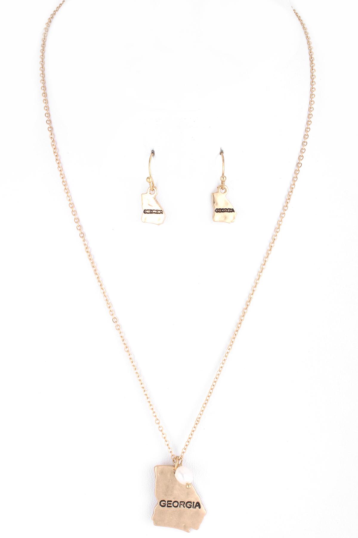 Engraved hammered state pendant necklace set necklaces engraved hammered state pendant necklace set aloadofball Images